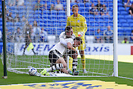 Matt Smith of Fulham © celebrates with teammate Ross McCormack after he scores his teams 1st goal. Skybet football league championship match, Cardiff city v Fulham at the Cardiff city stadium in Cardiff, South Wales on Saturday 8th August  2015.<br /> pic by Andrew Orchard, Andrew Orchard sports photography.