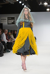 © Licensed to London News Pictures. 02/06/2015. London, UK. Fashion show of Universidad CENTRO Mexico at Graduate Fashion Week 2015. Graduate Fashion Week takes place from 30 May to 2 June 2015 at the Old Truman Brewery, Brick Lane. Photo credit : Bettina Strenske/LNP