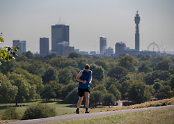 © Licensed to London News Pictures. 24/08/2016. London, UK. A man jogs in the heat up Primrose Hill. London is experiencing a second day of high temperatures with a peak of 30 degrees expected. Photo credit: Peter Macdiarmid/LNP