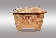 Minoan  pottery gabled larnax coffin chest with bird and floral decorations,   1370-1250 BC, Heraklion Archaeological  Museum, grey background. .<br /> <br /> If you prefer to buy from our ALAMY PHOTO LIBRARY  Collection visit : https://www.alamy.com/portfolio/paul-williams-funkystock/minoan-art-artefacts.html . Type -   Heraklion   - into the LOWER SEARCH WITHIN GALLERY box. Refine search by adding background colour, place, museum etc<br /> <br /> Visit our MINOAN ART PHOTO COLLECTIONS for more photos to download  as wall art prints https://funkystock.photoshelter.com/gallery-collection/Ancient-Minoans-Art-Artefacts-Antiquities-Historic-Places-Pictures-Images-of/C0000ricT2SU_M9w
