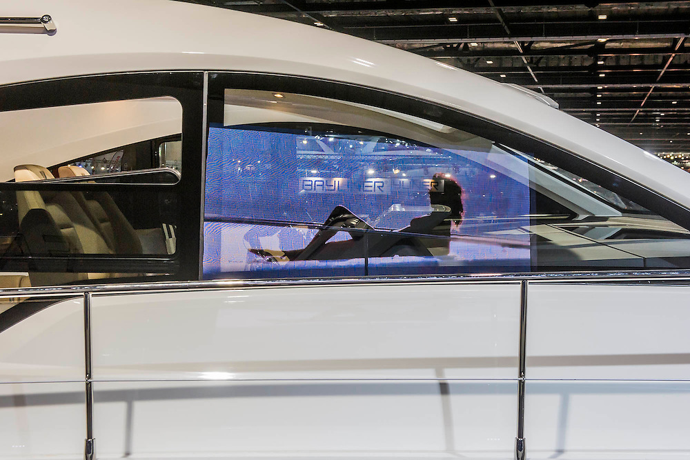 The Fairline stand includes a huge range of interior choices. The CWM FX London Boat Show, taking place 09-18 January 2015 at the ExCel Centre, Docklands, London. 09 Jan 2015.