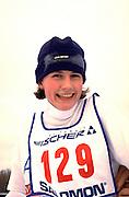 Happy cross country skier age 30 at Lake Phalen after finishing race.  St Paul  Minnesota USA