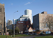 New and old mixed use buildings in Zone in Transition near the Wet Dock, Ipswich, Suffolk, England