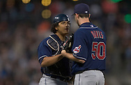 Image © 2005 David Richard<br />Cleveland Indians catcher Victor Martinez with pitcher Jason Davis.