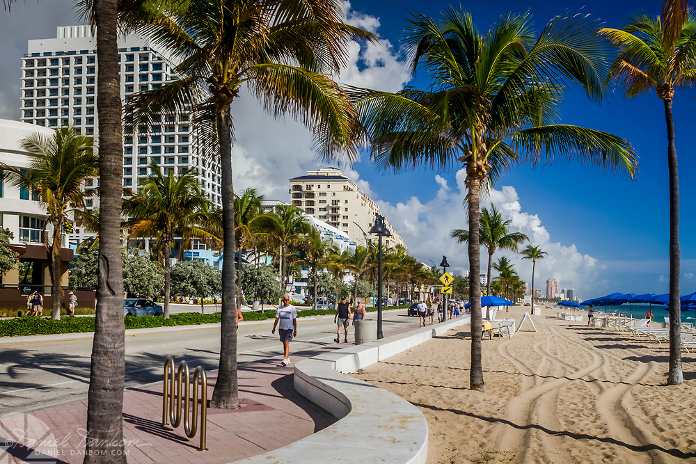 View of the beach along the shoreline at Ft. Lauderdale, Florida