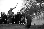 ANDREW LOGAN; TRACEY EMIN; SIR NORMAN ROSENTHAL;, INTERCOURSE: Re-enacting Eisenstein: The Odessa Steps Sequence from Battleship Potemkin<br /> Jane and Louise Wilson directed the re-enactment on the steps outside the ICA. 26 November 2011.