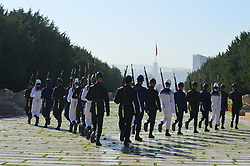 September 9, 2017 - Ankara, Turkey - Turkish soldiers walk to change the guard during a march marking the 94th anniversary of the main opposition Republican People's Party (CHP) at Anitkabir, the Mausoleum of modern Turkey's founder and first president Mustafa Kemal Ataturk, in Ankara, Turkey on September 09, 2017. The CHP is Turkey's main secularist and social-democratic political party as it is also the oldest political party of the Republic of Turkey, which was founded by Mustafa Kemal Ataturk with the name of the 'People's Party' on September 09, 1923. (Credit Image: © Altan Gocher/NurPhoto via ZUMA Press)