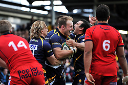 Chris Pennell of Worcester Warriors is congratulated on his try - Photo mandatory by-line: Patrick Khachfe/JMP - Mobile: 07966 386802 27/05/2015 - SPORT - RUGBY UNION - Worcester - Sixways Stadium - Worcester Warriors v Bristol Rugby - Greene King IPA Championship Play-off Final (Second leg)