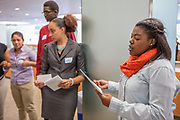 Purchase, NY – 31 October 2014. Ziyah House, from Port Chester High School, practicing her presentation. The Business Skills Olympics was founded by the African American Men of Westchester, is sponsored and facilitated by Morgan Stanley, and is open to high school teams in Westchester County.