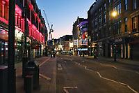 Shaftesbury Avenue, London in lockdown during the Coronavirus pandemic