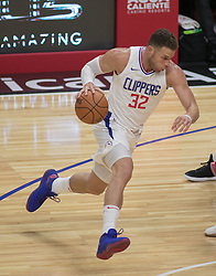 October 12, 2017 - Los Angeles, California, U.S - Blake Griffin #32 of the Los Angeles Clippers drives to the basket during their preseason game against the Sacramento Kings Thursday October 12, 2017 at the Galen Center in USC in Los Angeles, California. Clippers defeat Kings, 104-87. (Credit Image: © Prensa Internacional via ZUMA Wire)