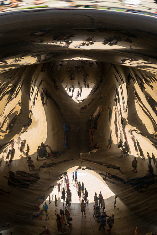 """Looking up from inside the Cloud Gate, """"Chicago Bean."""""""
