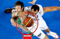 Matjaz Smodis of Slovenia vs Thomas van den Spiegel of Belgium during basketball match between National teams of Belgium and Slovenia in Group D of Preliminary Round of Eurobasket Lithuania 2011, on September 4, 2011, in Arena Svyturio, Klaipeda, Lithuania.  (Photo by Vid Ponikvar / Sportida)