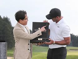 Oct 21, 2018 - Jeju, South Korea - BROOKS KOEPKA of USA and CJ Chairman Lee Jae Hyun Win Ceremony after round on the 18th hall during the PGA Golf CJ CUP Nine Bridges Final Round at Nine Bridges Golf Club. (Credit Image: © JNA via ZUMA Wire)
