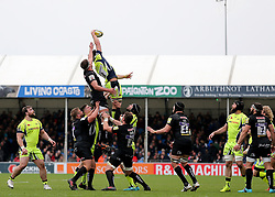 Sale Sharks Jono Ross gathers a line out ball during the Aviva Premiership match at Sandy Park, Exeter.