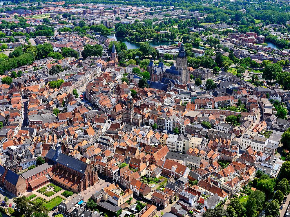 Nederland, Gelderland, Gemeente Zutphen, 21–06-2020; Hanzestad Zutphen, gelegen aan de IJssel. In het centrum de Walburgiskerk (met Librije).<br /> Hanseatic city of Zutphen, located on the IJssel. In the center the Walburgiskerk (with medieval library).<br /> <br /> luchtfoto (toeslag op standaard tarieven);<br /> aerial photo (additional fee required)<br /> copyright © 2020 foto/photo Siebe Swart