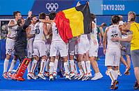 TOKIO -  Vreugde bij de Belgen na  de hockey finale mannen, Australie-Belgie (1-1), België wint shoot outs en is Olympisch Kampioen,  in het Oi HockeyStadion,   tijdens de Olympische Spelen van Tokio 2020. COPYRIGHT KOEN SUYK