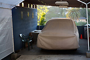 Covered cars, in Echo Park an affluent suburb of LA, California