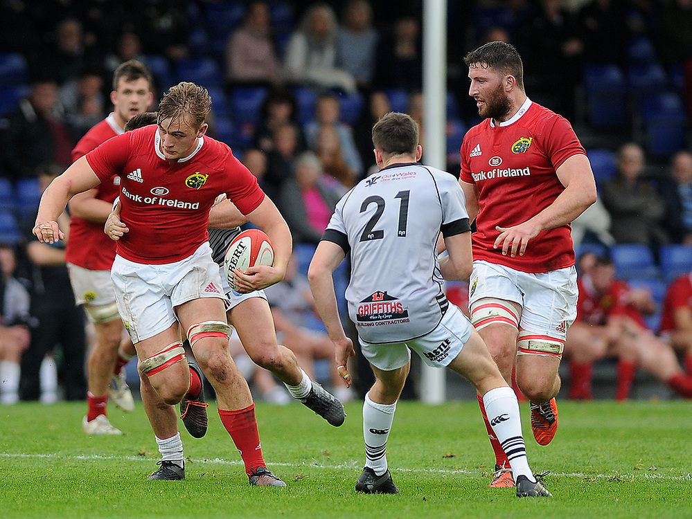 Munster A's Gavin Coombes in action during todays match<br /> <br /> Photographer Ashley Crowden/CameraSport<br /> <br /> The British & Irish Cup Pool 1 - Ospreys Premiership Select v Munster A - Saturday 14th October 2017 - St Helen's, Swansea<br /> <br /> World Copyright © 2017 CameraSport. All rights reserved. 43 Linden Ave. Countesthorpe. Leicester. England. LE8 5PG - Tel: +44 (0) 116 277 4147 - admin@camerasport.com - www.camerasport.com