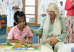 The Duchess of Cornwall completes a puzzle with a young girl as she visits Oman's first children's public library in Muscat during the royal tour of the Middle East.