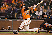 San Francisco Giants catcher Buster Posey (28) strikes out swinging against Baltimore Orioles relief pitcher Zach Britton (53) in the ninth inning at AT&T Park in San Francisco, Calif., on August 12, 2016. (Stan Olszewski/Special to S.F. Examiner)