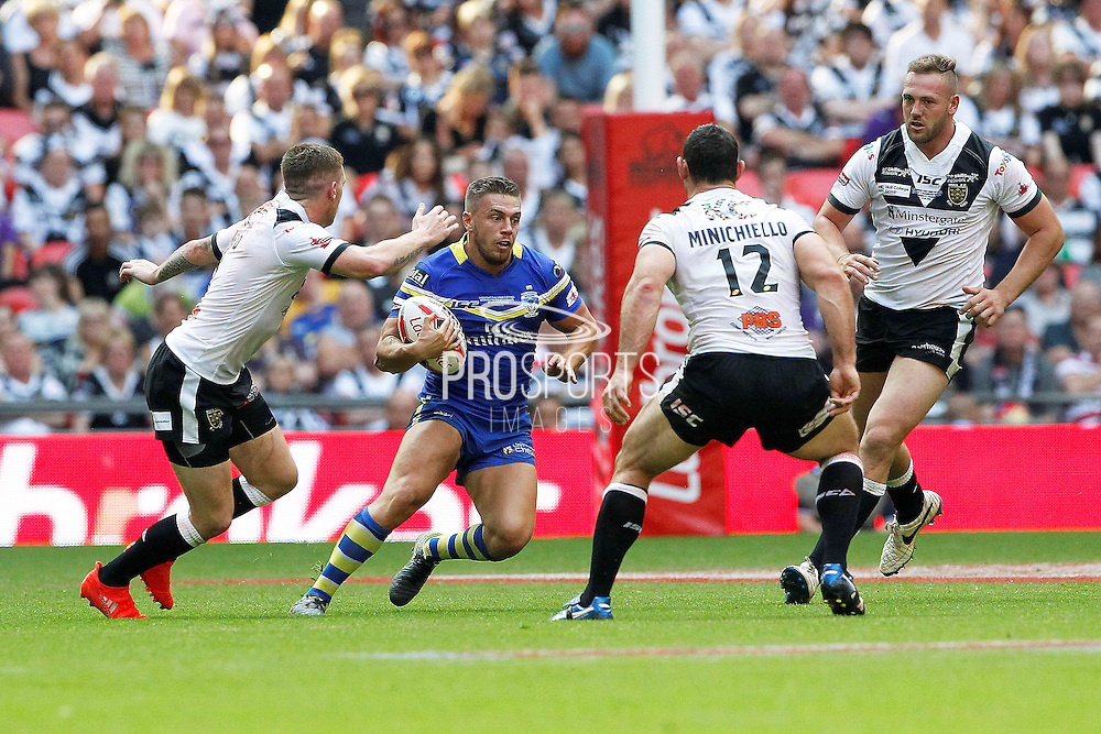 Wolves Matty Russell looks for a gap in the Hull defence during the Challenge Cup Final 2016 match between Warrington Wolves and Hull FC at Wembley Stadium, London, England on 27 August 2016. Photo by Craig Galloway.