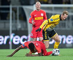 Jonas Thorsen (AC Horsens) kæmper med Mohammed Kudus (FC Nordsjælland) under kampen i 3F Superligaen mellem FC Nordsjælland og AC Horsens den 19. februar 2020 i Right to Dream Park, Farum (Foto: Claus Birch).