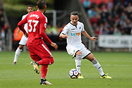 Roque Mesa of Swansea city (r) in action.  Premier league match, Swansea city v Watford at the Liberty Stadium in Swansea, South Wales on Saturday 23rd September 2017.<br /> pic by  Andrew Orchard, Andrew Orchard sports photography.