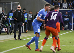 October 2, 2018 - France - Josep Guardiola, coach Manchester City, during the UEFA Champions League group F football match between TSG 1899 Hoffenheim and Manchester City at the Rhein-Neckar-Arena in Sinsheim, southwestern Germany, on October 2, 2018. (Credit Image: © Panoramic via ZUMA Press)