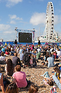 Fans watching on the Brighton Beach big screen the Rugby World Cup 2015 match between Samoa and USA at the Brighton Community Stadium, Falmer, United Kingdom on 20 September 2015.