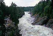 Imatrankoski HEP dam power station, Imatra Rapids, downstream Vuoksi River, after water released to river channel, Imatra, Finland 1973