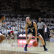 Marina Mabrey, (right), Notre Dame, challenged by Moriah Jefferson, UConn, during the Notre Dame Vs UConn Women's Basketball game at Grampel Pavilion, Storrs, Connecticut, USA. 5th December 2015. Photo Tim Clayton
