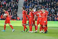 Edinson Roberto Paulo Cavani Gomez (psg) (El Matador) (El Botija) (Florestan) scored a goal from the ball of Goncalo Guedes (PSG), celebrated with Adrien Rabiot (psg), Thomas Meunier (PSG), Thiago Silva (PSG), Marcos Aoas Correa dit Marquinhos (PSG), Marco Verratti (psg), Blaise Mathuidi (psg) during the French championship Ligue 1 football match between Paris Saint-Germain (PSG) and Bastia on May 6, 2017 at Parc des Princes Stadium in Paris, France - Photo Stephane Allaman / ProSportsImages / DPPI