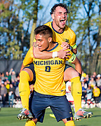 Billy Stevens #4 and Ivo Cerda #8 of the Michigan Wolverines celebrate a goal against the Wisconsin Badgers at U-M Soccer Stadium on September 7, 2017 in Ann Arbor, Michigan.