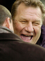 Photo: Leigh Quinnell.<br /> Watford v Stoke City. Coca Cola Championship.<br /> 14/01/2006. Stoke manager Johan Boskamp shares a joke with Watford manager Aidy Boothroyd before the game.