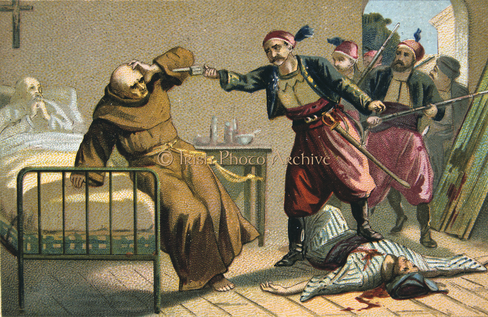 Massacre of Armenians by Ottoman Turks under Abdul Hamid, 1895-1896. Death of Franciscan Father Salvatore Lilli at Mujukderesi, 1895.     Religious Conflict Turkey Trade Card  French Chromolithograph