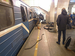 April 3, 2017 - Saint Petersburg, Russia - April 3, 2017. - Russia, Saint Petersburg. - At least 10 people have been killed after two explosions on the Saint Petersburg's Sennaya and Tekhnologichesky Institut metro stations. (Credit Image: © Russian Look via ZUMA Wire)