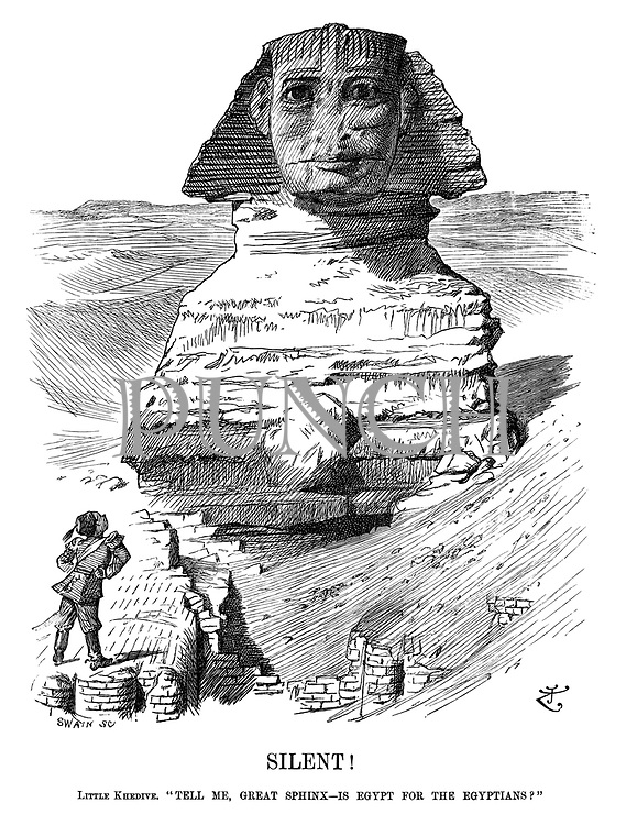 """Silent! Little Khedive. """"Tell me, great Sphinx—is Egypt for the Egyptians?"""""""