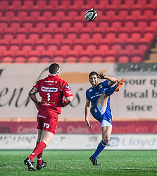 Leinster's Ross Byrne puts in a kick<br /> <br /> Photographer Craig Thomas/Replay Images<br /> <br /> Guinness PRO14 Round 17 - Scarlets v Leinster - Friday 9th March 2018 - Parc Y Scarlets - Llanelli<br /> <br /> World Copyright © Replay Images . All rights reserved. info@replayimages.co.uk - http://replayimages.co.uk