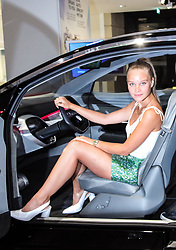 as a child actress Sonja Gerhardt drove kettcar and injured her leg. Except for a few scars she has perfect legs. Now she wants a car to reach the target without injury. Today she looked at self driving cars with e motor in Volkswagen. 04 Jul 2018 Pictured: Sonja Gerhardt. Photo credit: Andreas Meyer MEGA TheMegaAgency.com +1 888 505 6342