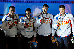 02.08.2013, Barcelona, ESP, FINA, Weltmeisterschaften für Wassersport, Medailliengewinner, im Bild Russia team, Izotov, Lobintsev, Lobuzov, Sukhorunkov, with silver medal at 4x200 Freestyle Relay Men Finalist Victory Ceremony // during the FINA worldchampionship of waterpolo, medalists in Barcelona, Spain on 2013/08/02. EXPA Pictures © 2013, PhotoCredit: EXPA/ Pixsell/ HaloPix<br /> <br /> ***** ATTENTION - for AUT, SLO, SUI, ITA, FRA only *****
