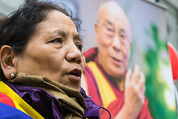 """London, September 21st 2015. Protests by Shugden Buddhists who allege that the Dalai Lama discriminates against their sect, protest outside the Lyceum Theatre in London as the Dalai Lama attends """"An Afternoon With The Dalai Lama And Friends"""" event as part of his UK visit. Loyalists staged a counter protest welcoming the Buddhist leader to London. PICTURED: Dalai Lama loyalists protest against the Shugden Buddhists accusations against their leader."""