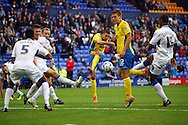 Exeter City's Liam Sercombe tries a shot at goal. Skybet football league two match, Tranmere Rovers v Exeter city at Prenton Park in Birkenhead, the Wirral on Saturday 20th Sept 2014.<br /> pic by Chris Stading, Andrew Orchard sports photography.