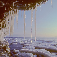 Icicles hang for an oceanside cliff on arctic Spitsbergen Island in Svalbard archipelago, Norway.