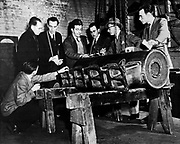 European Recovery Act, known as the Marshall Plan, the United States programme for the rebuilding of Europe after World War II and to stop the spread of Communism . Beginning in 1947, the plan lasted four years. French industrial managers and engineers on a five-week tour of US industrial centres.