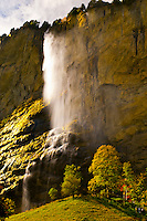 Staubbach Waterfalls in the Lauterbrunnen Valley, Canton Bern, Switzerland