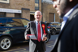 © Licensed to London News Pictures. 11/06/2015. London, UK. Labour Tower Hamlets Mayor candidate, JOHN BIGGS canvassing in Tower Hamlets, east London. Tower Hamlets residents go to the polls today to vote for a new Mayor of Tower Hamlets after Lutfur Rahman was removed from office for fraud and corrupt practices by an election court earlier this year. Photo credit : Vickie Flores/LNP