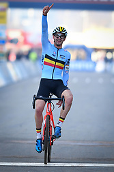 December 26, 2018 - Heusden-Zolder, BELGIUM - Belgian Ryan Cortjens celebrates as he crosses the finish line to win the men junior race of the seventh stage (out of nine) in the World Cup cyclocross, Wednesday 26 December 2018 in Heusden-Zolder, Belgium. BELGA PHOTO DAVID STOCKMAN (Credit Image: © David Stockman/Belga via ZUMA Press)