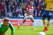 James Coppinger of Doncaster Rovers (26) takes a shot during the EFL Sky Bet League 1 play off first leg match between Doncaster Rovers and Charlton Athletic at the Keepmoat Stadium, Doncaster, England on 12 May 2019.