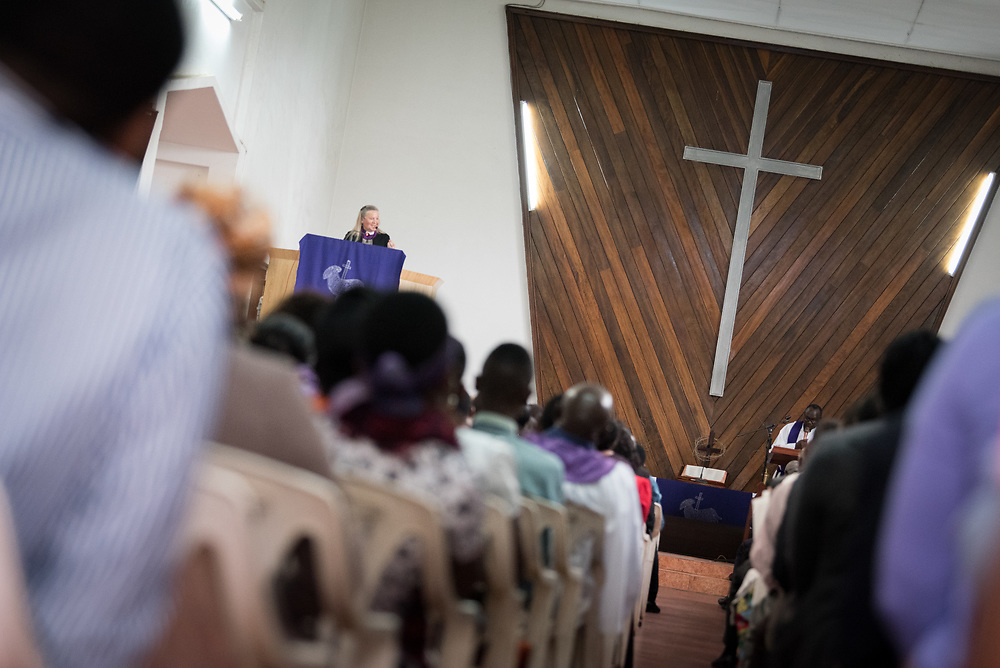"""11 March 2018, Arusha, Tanzania: Young and old, women and men, children and elderly — bringing together a congregation of over 1,000 people, the Arusha Mjini Kati Lutheran Church gathered to celebrate Sunday service on 11 March, together with international visitors participating in the WCC Conference on World Mission and Evangelism.<br /> <br /> The church, which bears its name from its central location in Arusha, Tanzania, has a history of more than 100 years, and is an active body in Evangelical outreach, spreading the Gospel throughout Tanzania. <br /> <br /> Through """"creative ministry"""", including drama, music and artistic expression, the church explores new ways of engaging young people in the church, and in proclaiming the good news. Bishop Mary Ann Swenson from the United Methodist Church, vice-moderator of the WCC Central Committee, preached during the service, reflecting on what it means to have faith in the face of hardship, based on readings from Mark 4: 35-41."""